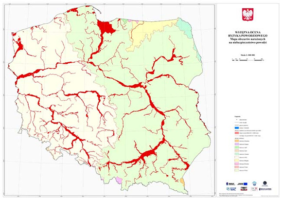 Flood risk areas identified in the preliminary flood risk assessment.